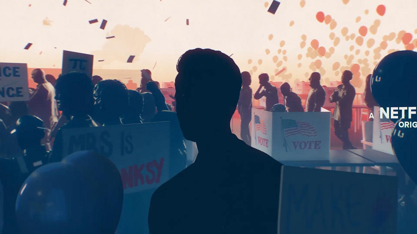 Main title title sequence Netflix Hasan Minhaj Patriot Act title design Title politic