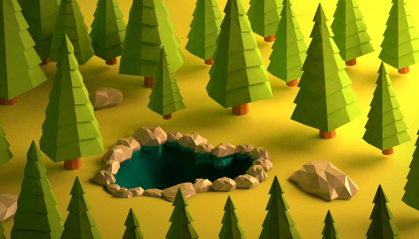 forest 3D Polygons blender green life