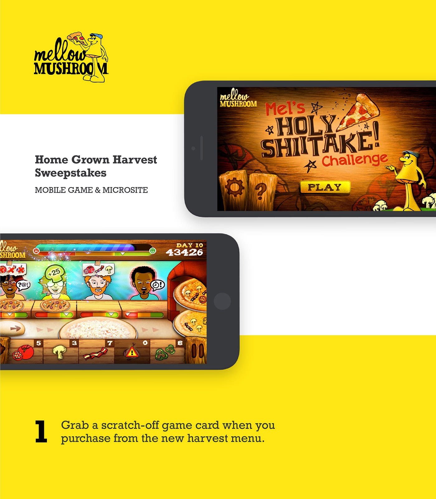 mellow mushroom Pizza interactive Micro Site game iphone android Web