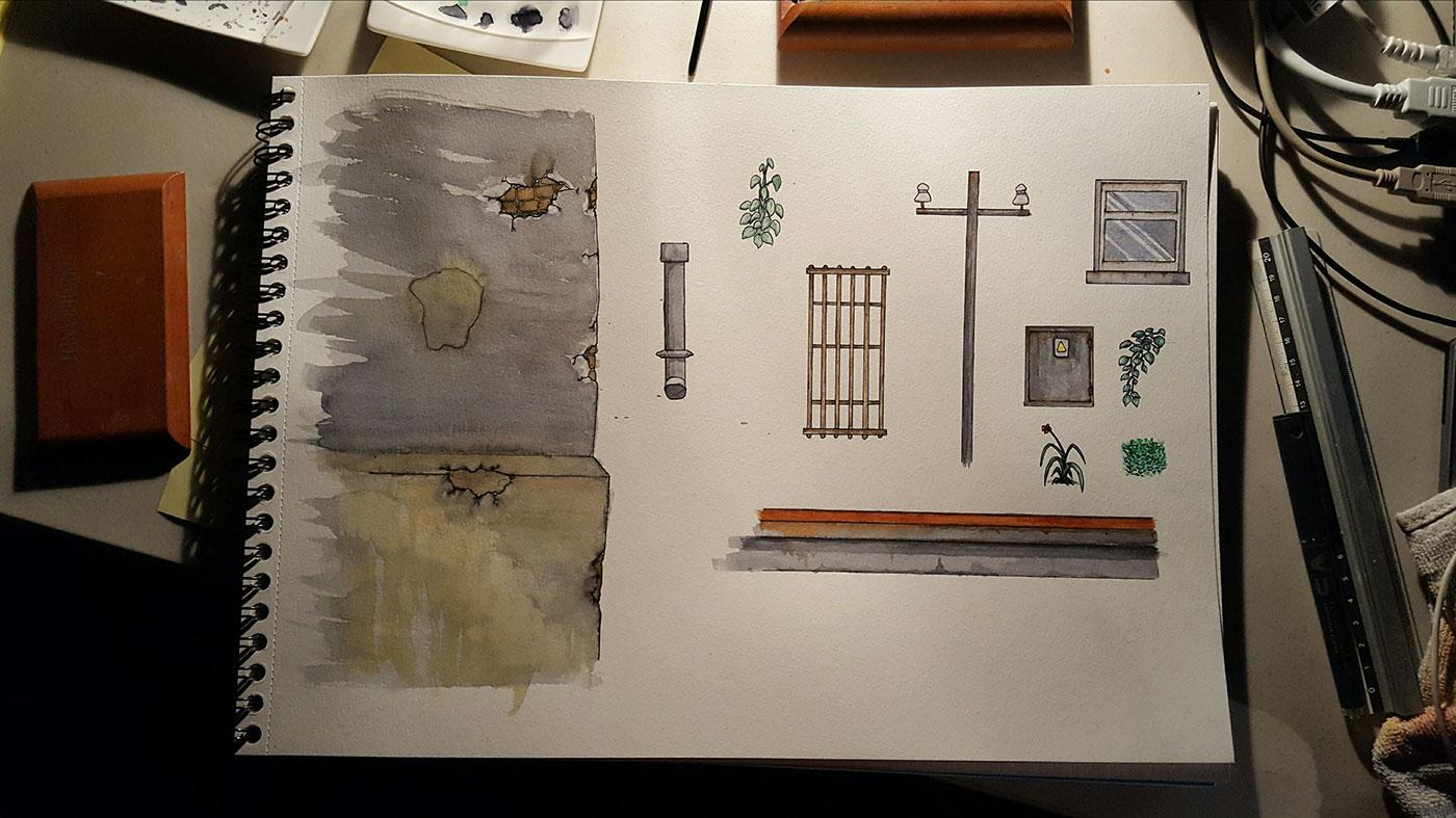 planche d'éléments pour le décor de la ville du spectacle Albatros du collectif Or Normes