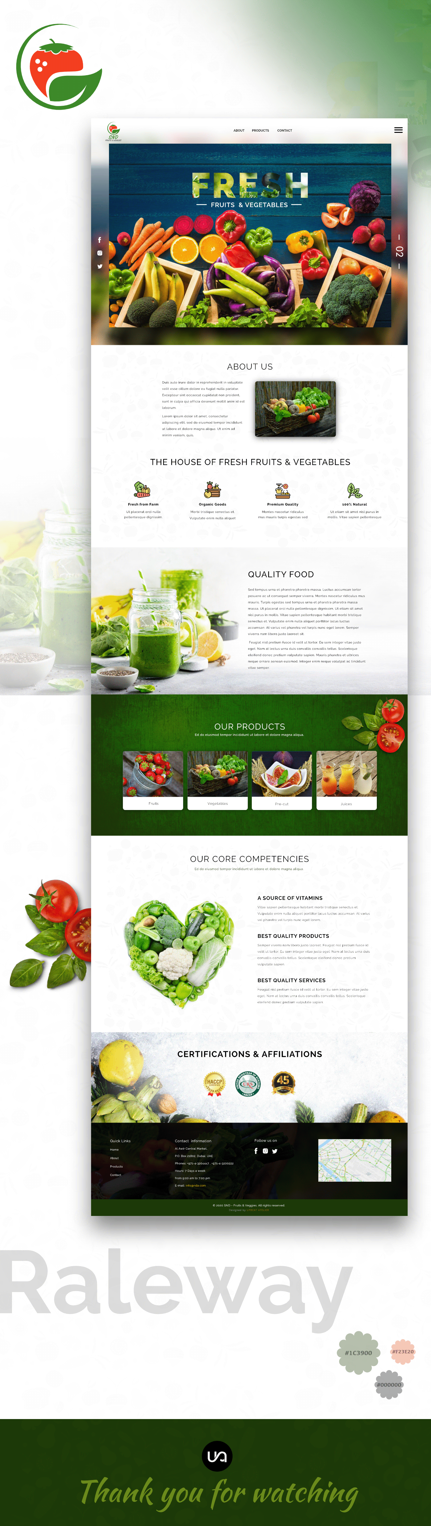 app design Fruits and Veggies home page landing page template ui design Website