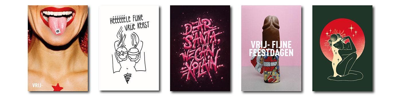 3D Christmas gloss glow neon poster shine slime type typography