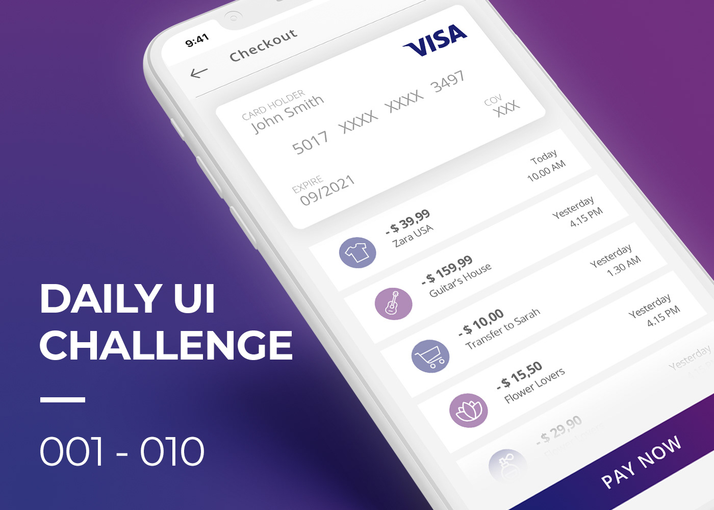 daily ui UI dailyuichallenge login signup landing page credit card checkout calculator