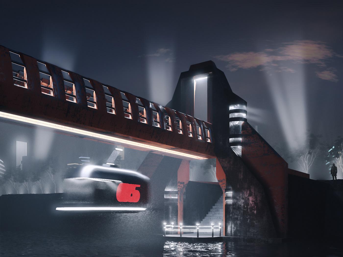 architecture FUTURISM retrofuturism 3D rendreing bridge night noir
