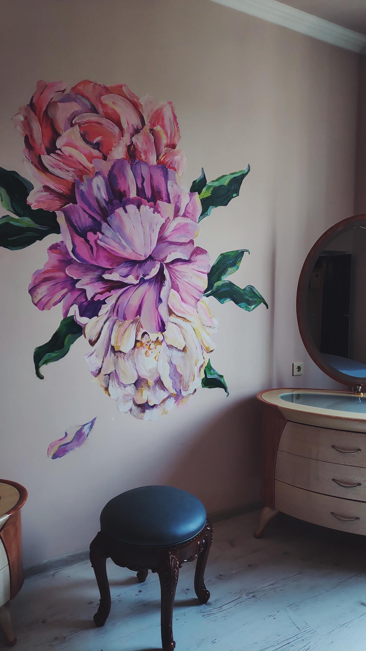 art Flowers acrylic painting Interior design decoration ideas