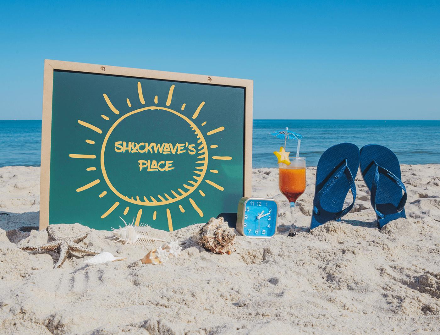 beach logo resort sand swimming