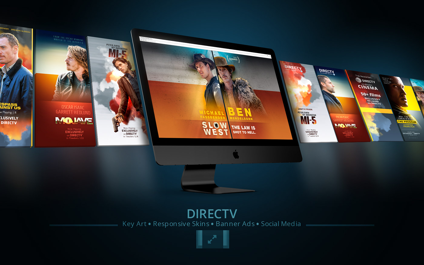 DirecTV Cinema banner ads slow west mojave MI-5 the program Tresspass Against Us key art social media