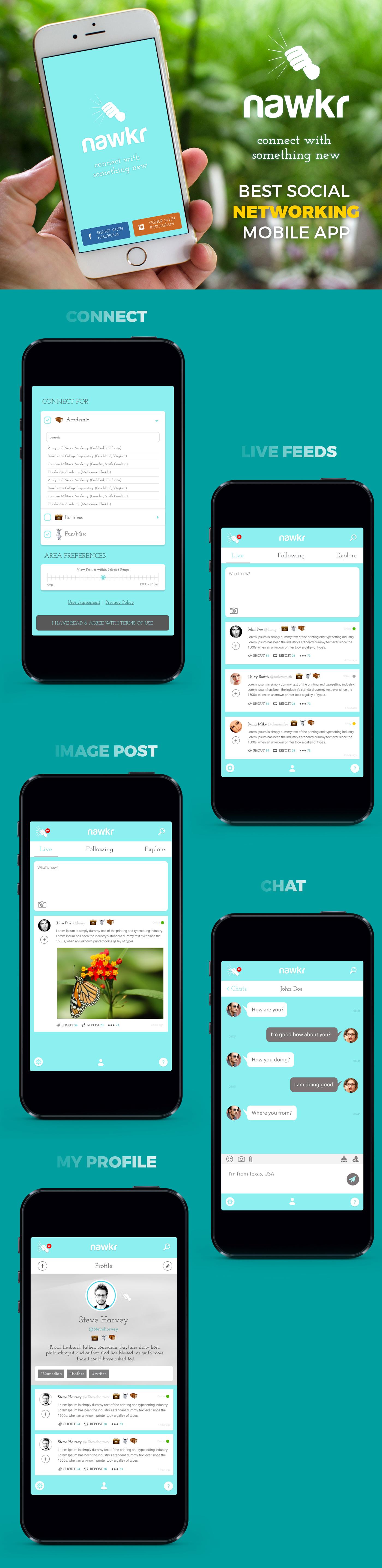 Mobile app Nawkr Socail networking app Mobile Application