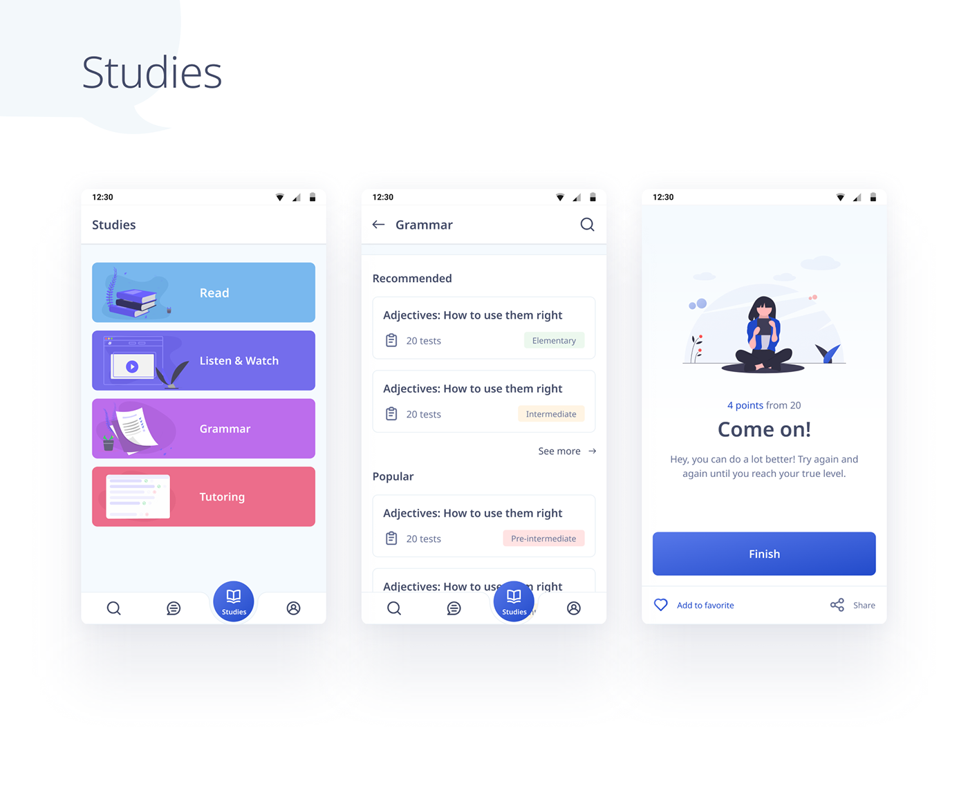 android app Chat lessons study