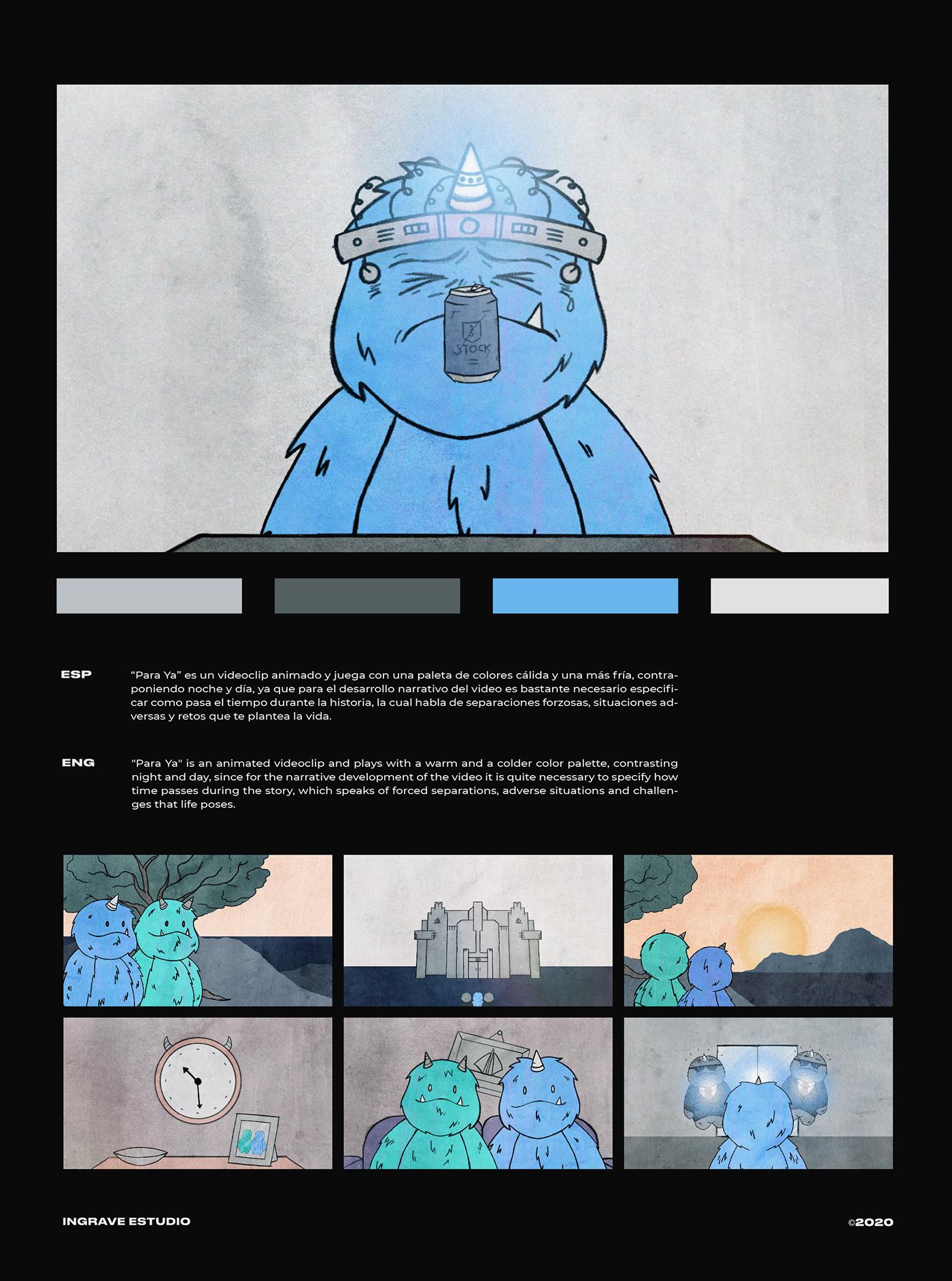 animacion ILLUSTRATION  motion motion graphics  music rulo y la contrabanda Videoclip