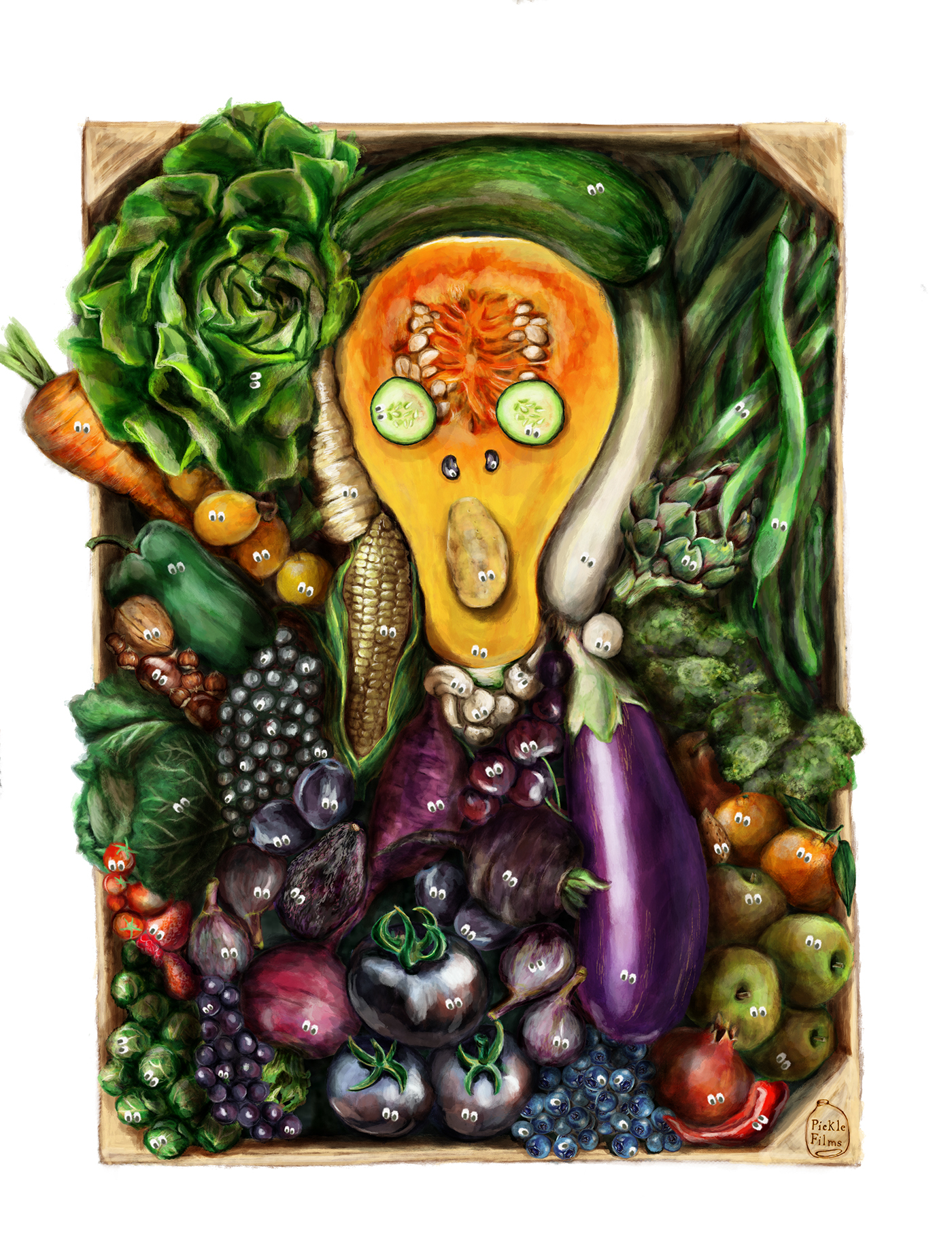 MunchContest TheGreenScream Picklefilms IIlustration vegetables hiddentreasures adobe ad Veggie