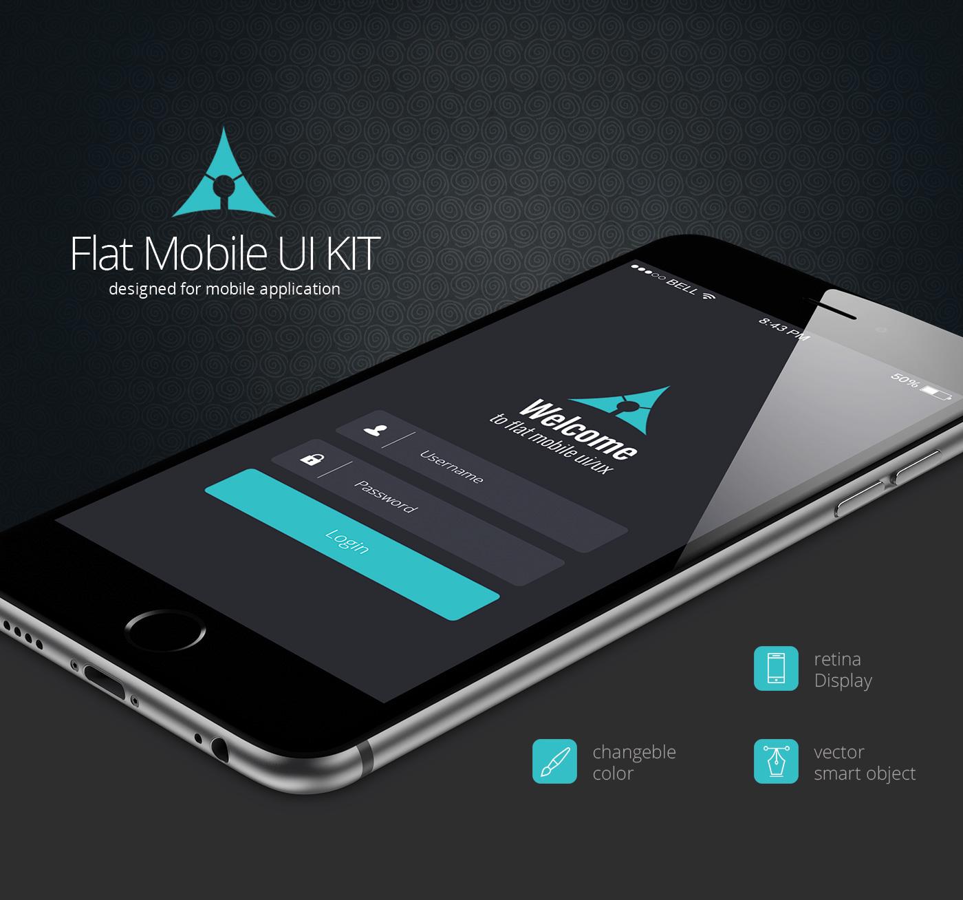 Flat Mobile App UI Kit On Behance