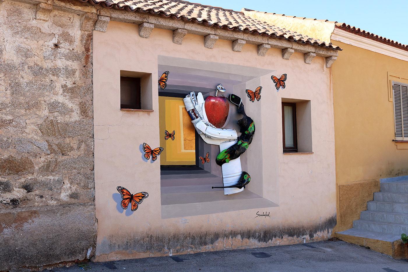 installation Street Art  wallart recycling art original sin heaven ScoobaFish italian style