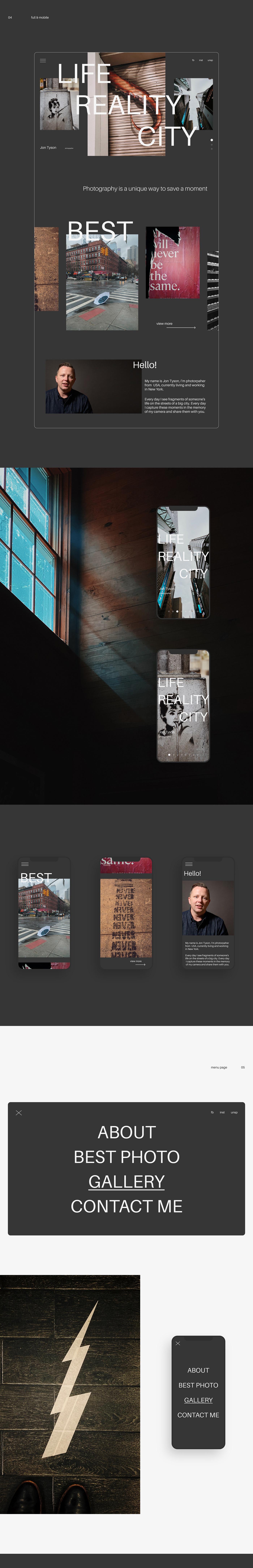 city interaction Interface landing page minimal New York photo photographer portfolio Website