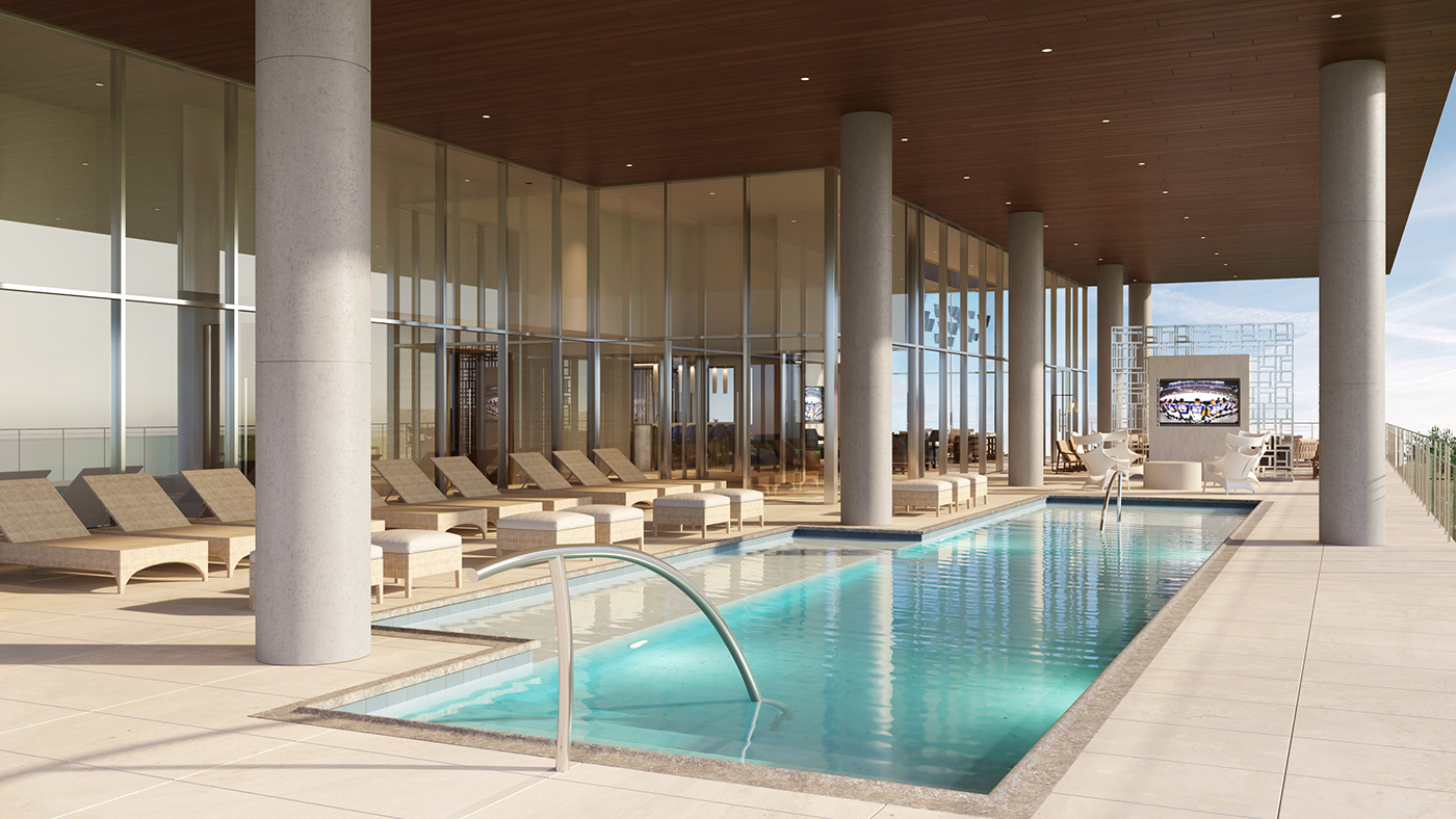 Exterior Amenity space includes a large Pool