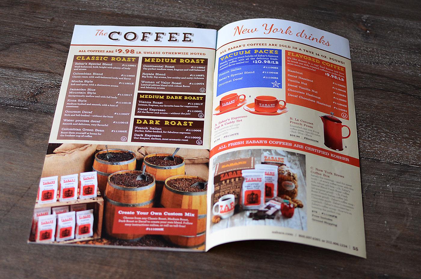 Zabar's Catalog Design of coffee section