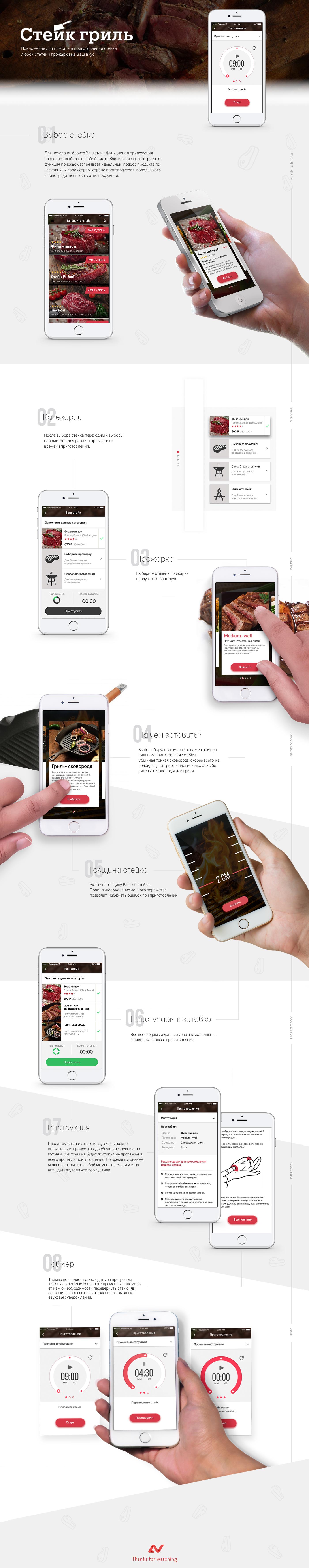 steak Mobile app app UI ux interaction ios iphone concept
