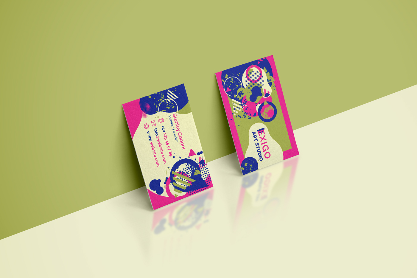 Memphis Style Business Cards Templates on Behance
