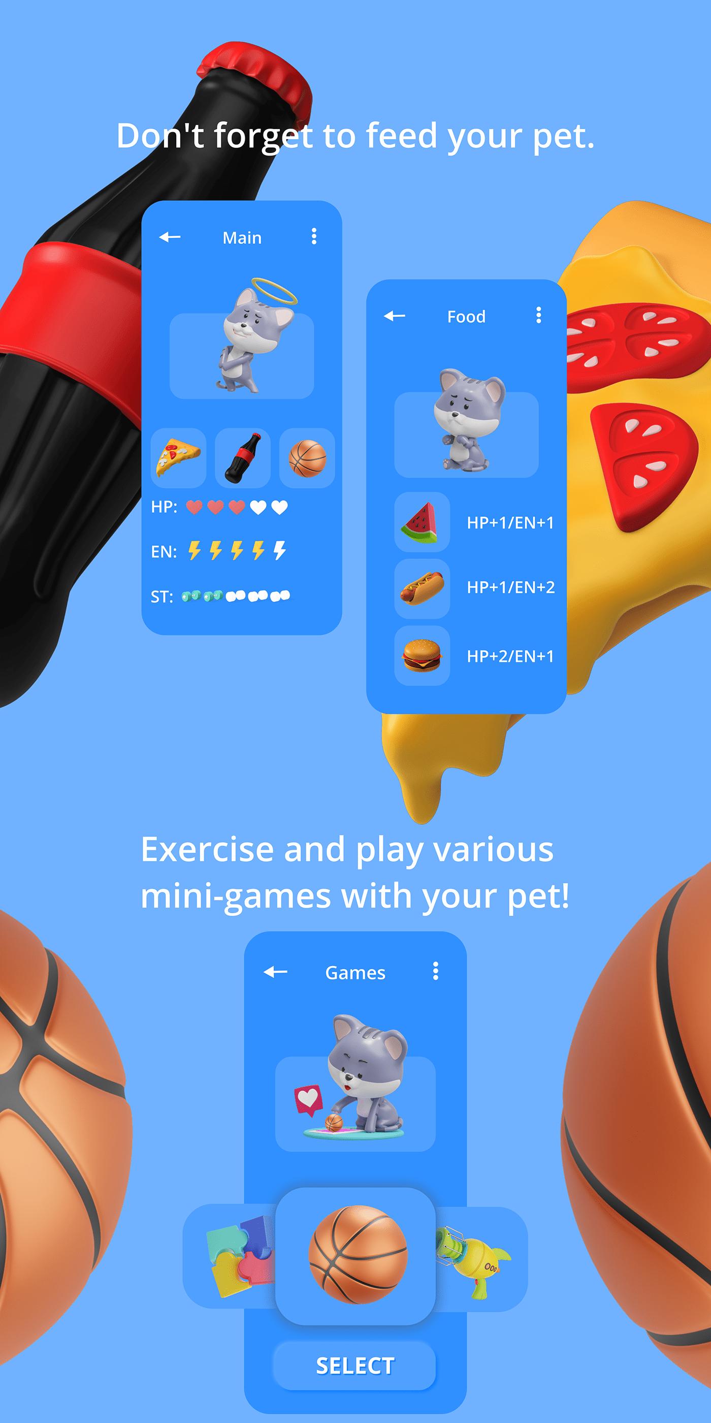 3D animals app blender concept Figma UI ui ux ux xD