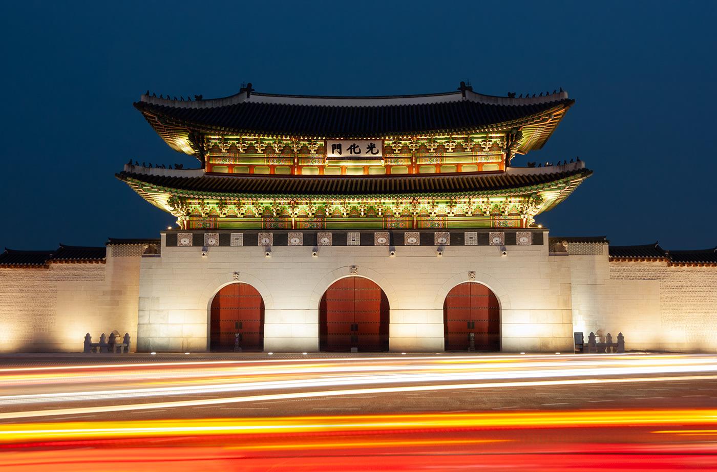Gwanghwamun- Front gate to Gyeongbokgung Palace in Seoul, South Korea.