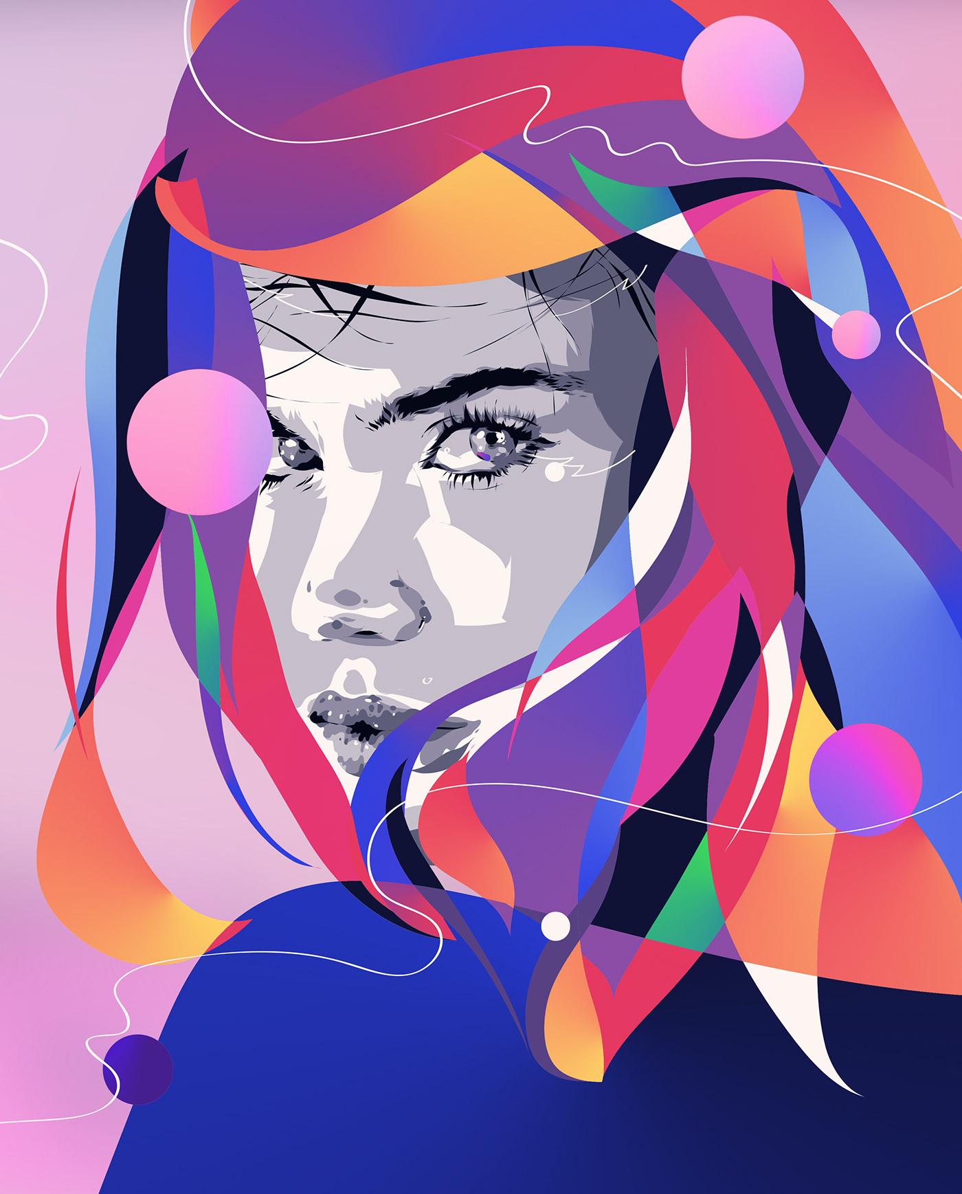 Colourful  portrait print close-up Fashion  girl Illustrator photoshop