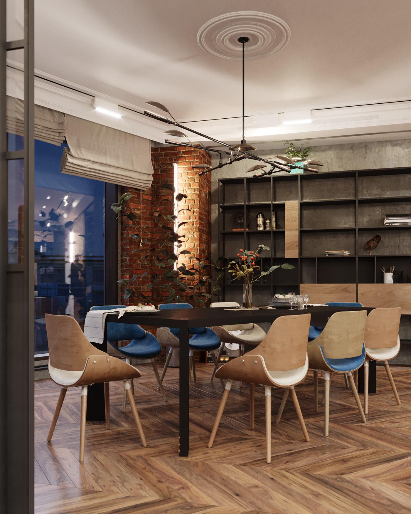 neoclassic Interior LOFT modern design coronarenderer