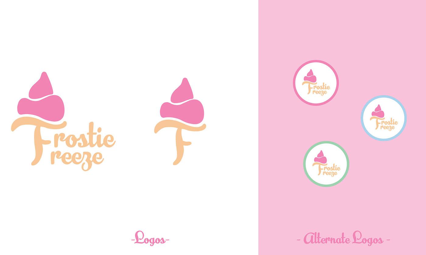 Logo Design branding  pastel colors ice cream Photography