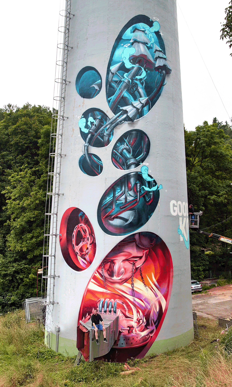 art Character chimney Graffiti Mural painting   spray paint Street Art