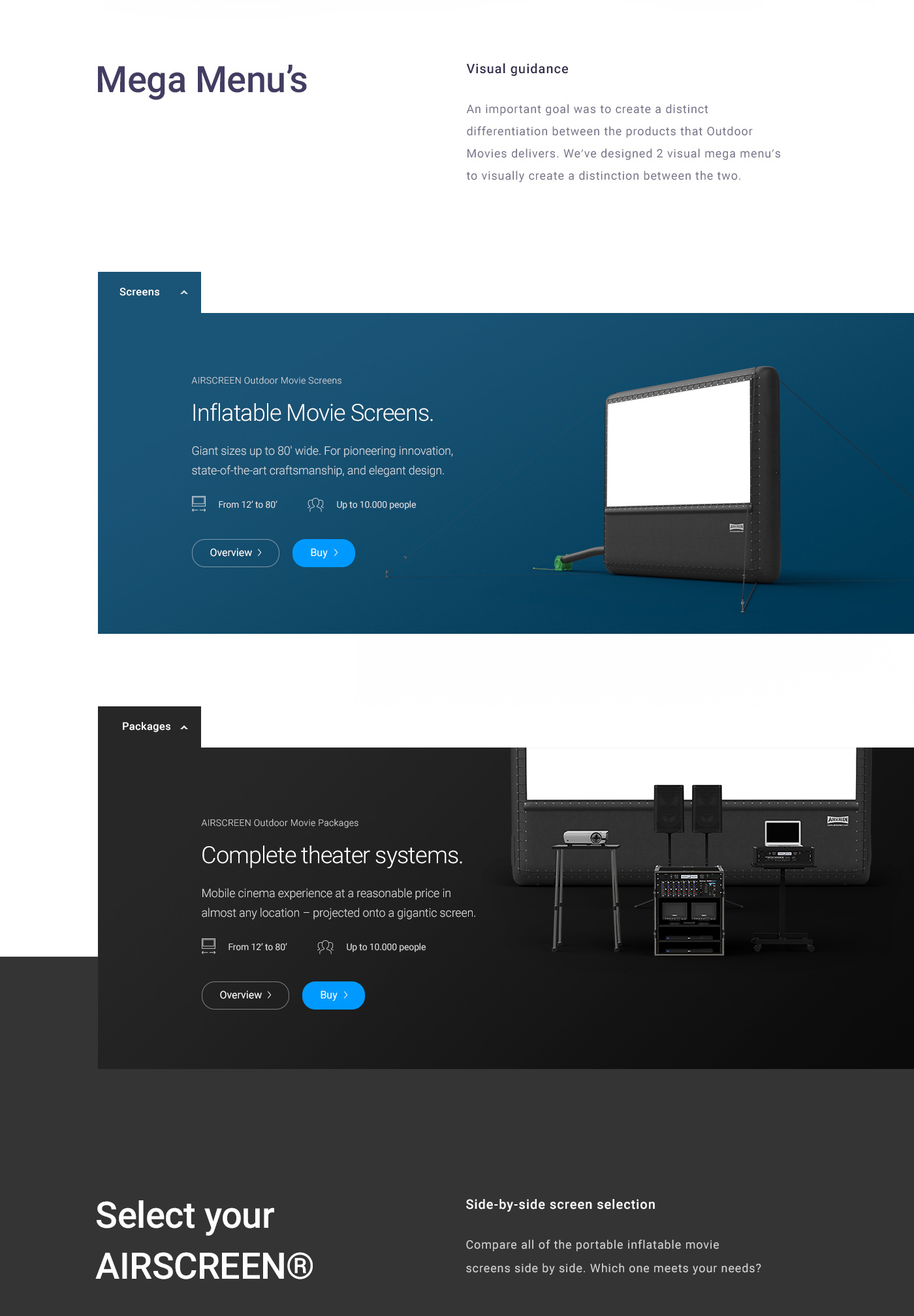 a exploration of the mega menu of a corporate website