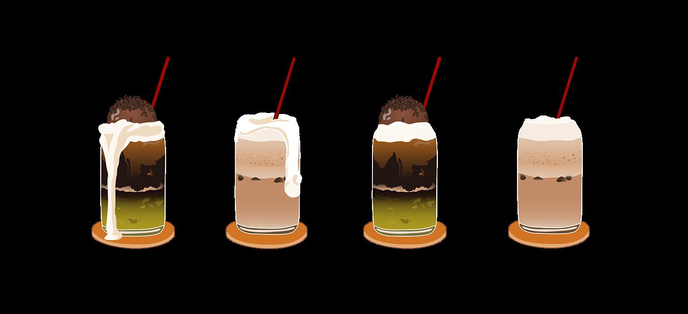 ILLUSTRATION  Drawing  croissant drinks Coffee takeaway adobe illustrator Foods acai bowl