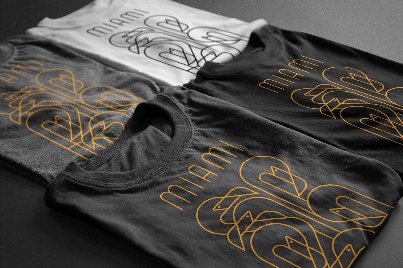miami beach south flamingo birds outline art deco Style t-shirt Retro