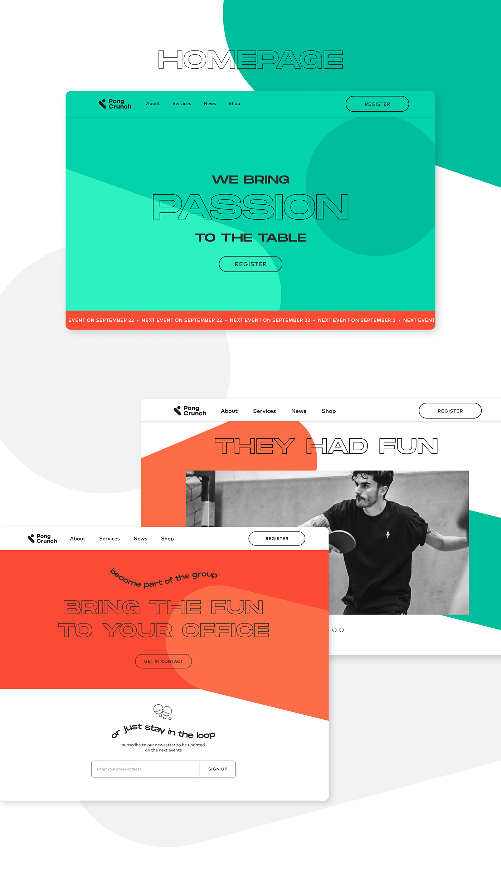 animation  branding  identity pingpong sport table tennis UI Webdesign