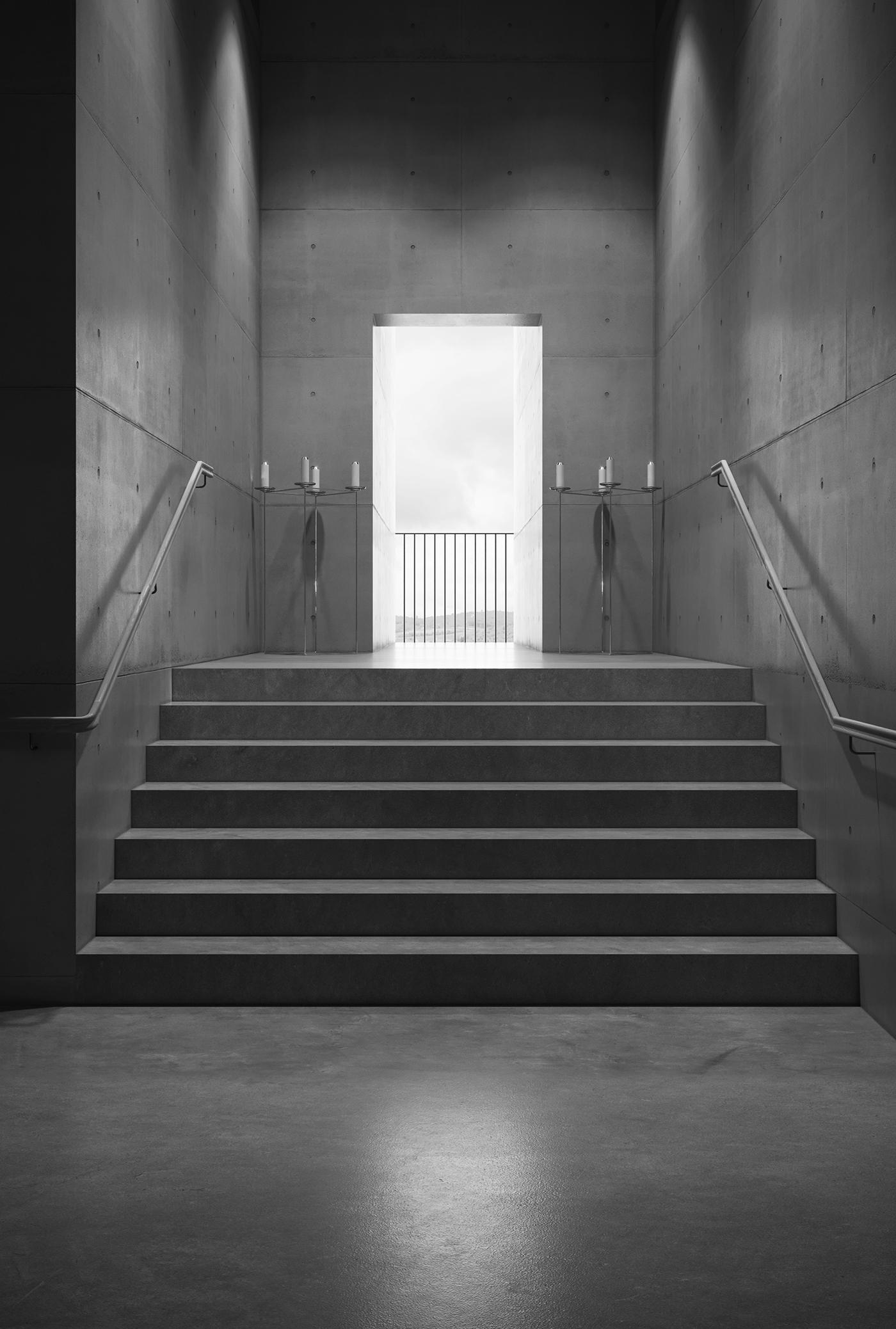 Adobe Portfolio architecture vienna crematorium concrete visualisation