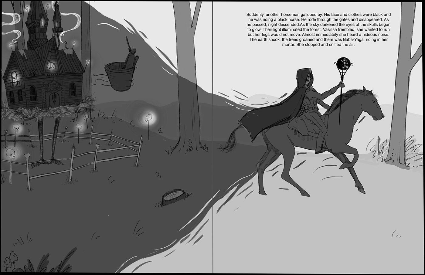 Baba Yaga book illustration children's book fairytale fantasy folk tale russian Vasilisa Middle grade young adult
