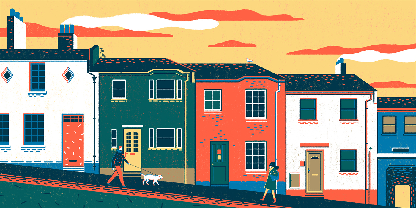 house city village building couple Cat dog seagull sunset life