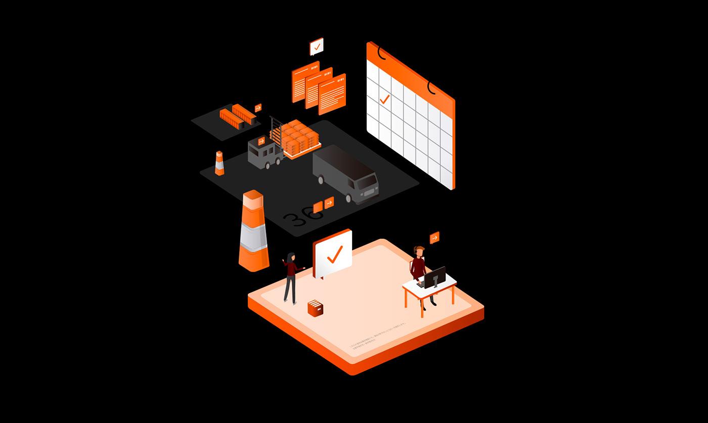 characters digital engagement friendly logistic mail minimal shipment UI ux