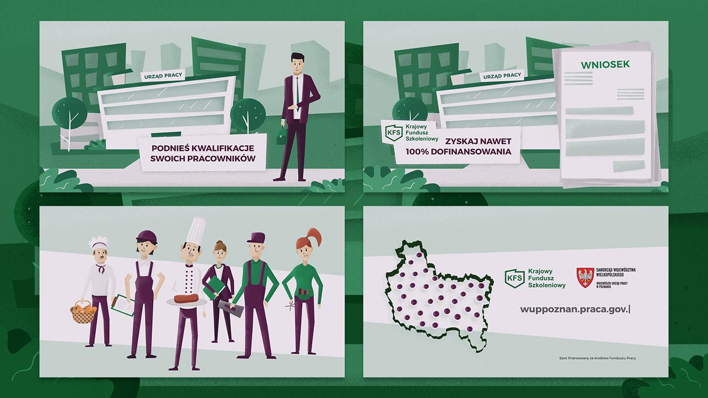 animation  explainer video ILLUSTRATION  rig Character green walk cartoon business