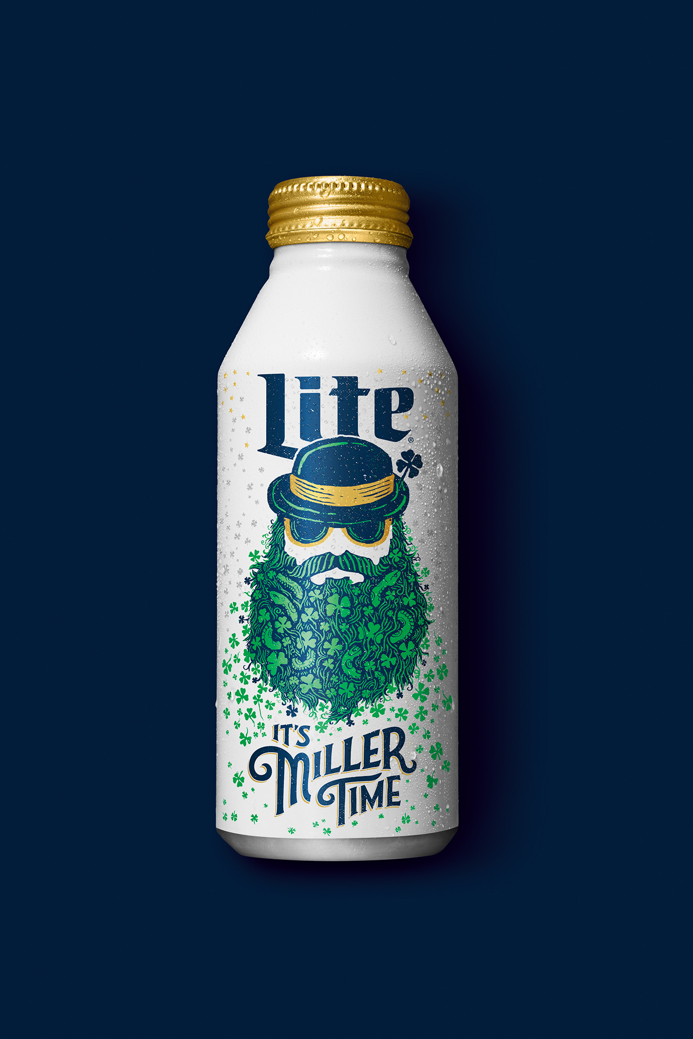 miller lite beer st. patty's day can beard shamrock snake handletter handtype Label
