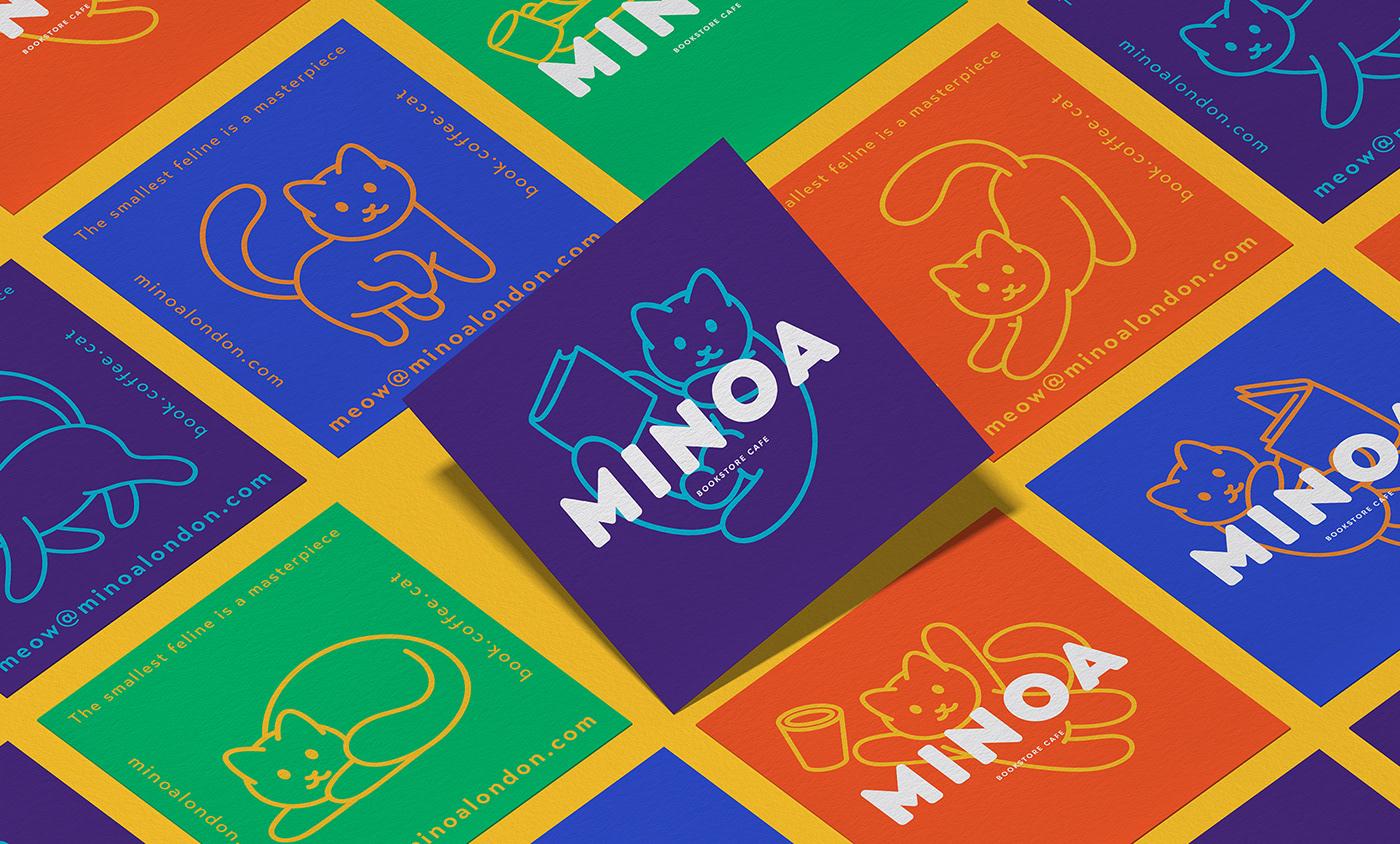 book branding  Cat graphic design  Icon logo cafe Coffee animation  Minoa