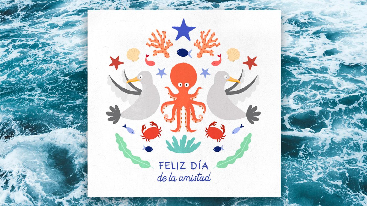friends sea marine seafood animals Ocean ILLUSTRATION  pescanova fish