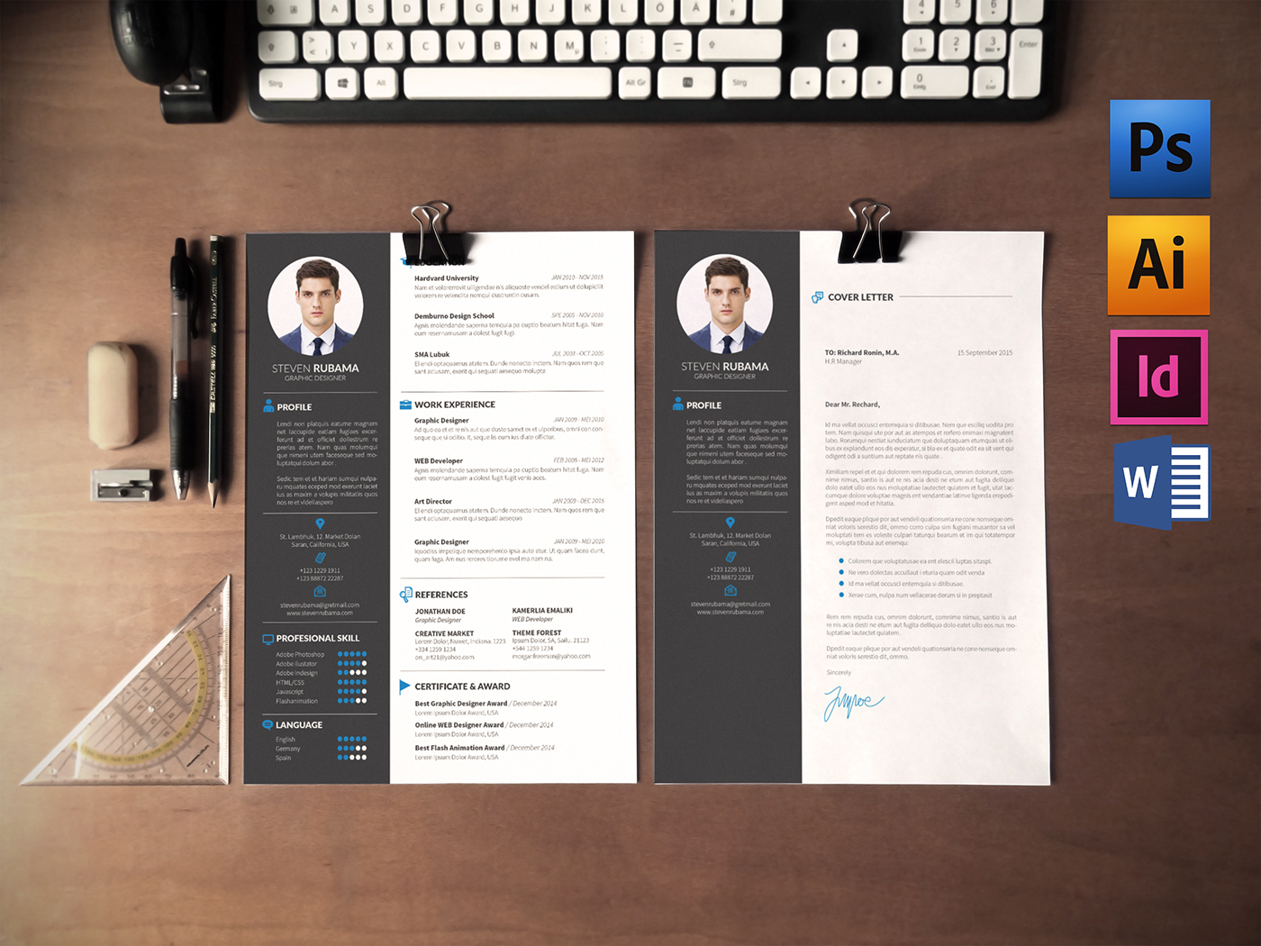resume  cv and cover letter  free  on behance
