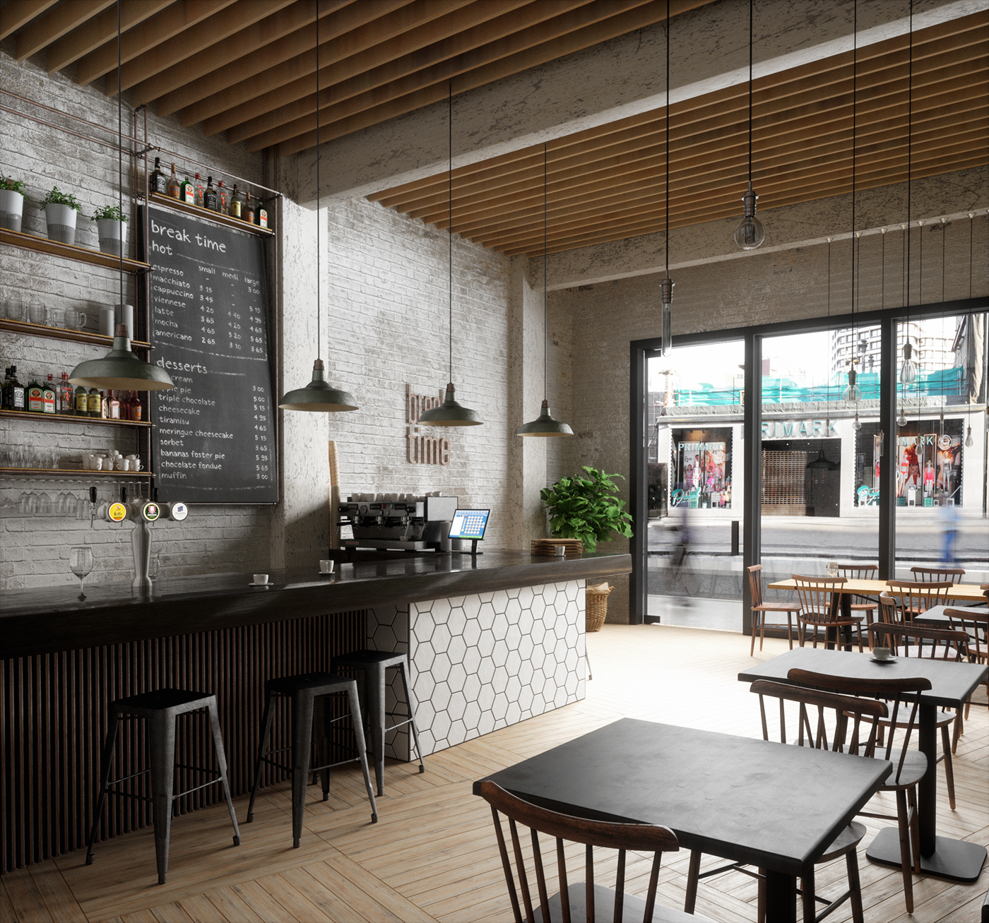 Break time caf on behance for Small cafe bar design