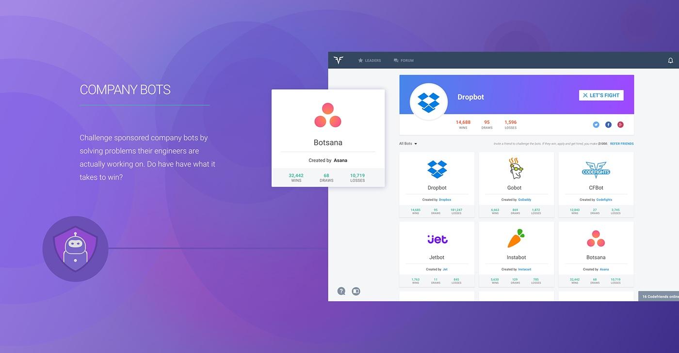 CodeFights UI/UX UI Start-up Design ux Web coding Coding Game