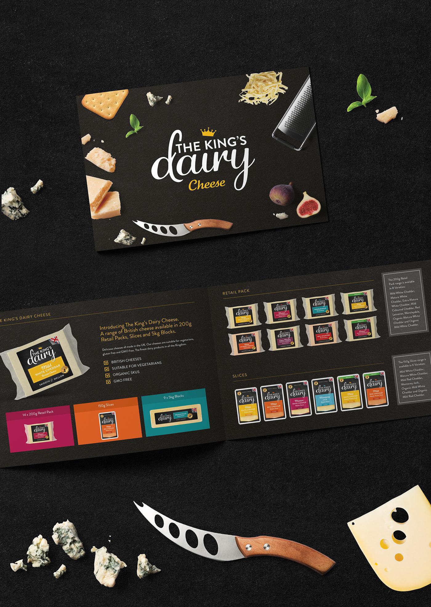 Packaging logo branding  Cheese Food Packaging Cheese packaging king Website Design The King's Dairy