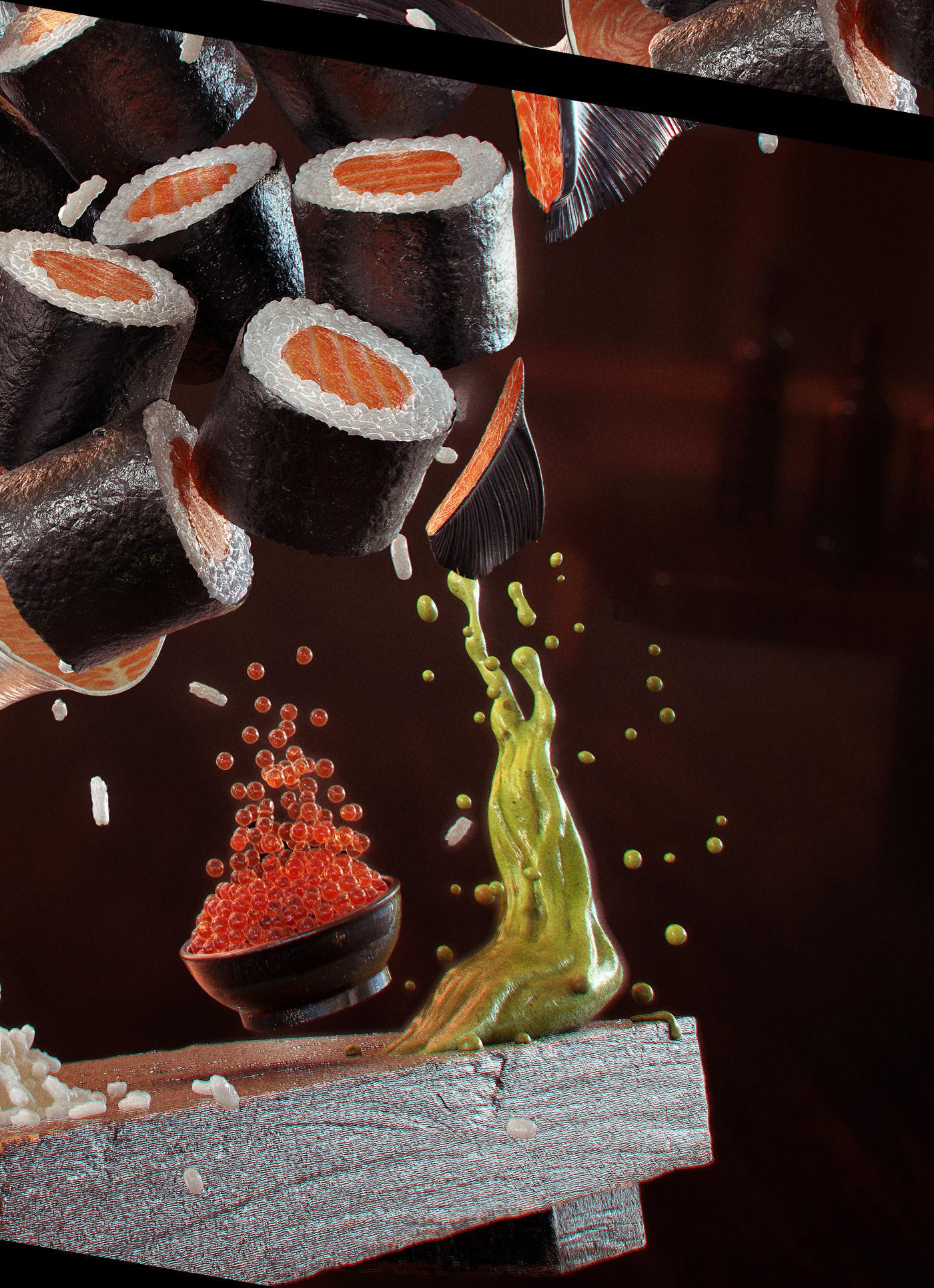 salmon Sushi Rice japanese food fish hosomaki Sashimi Food  3D wasabi