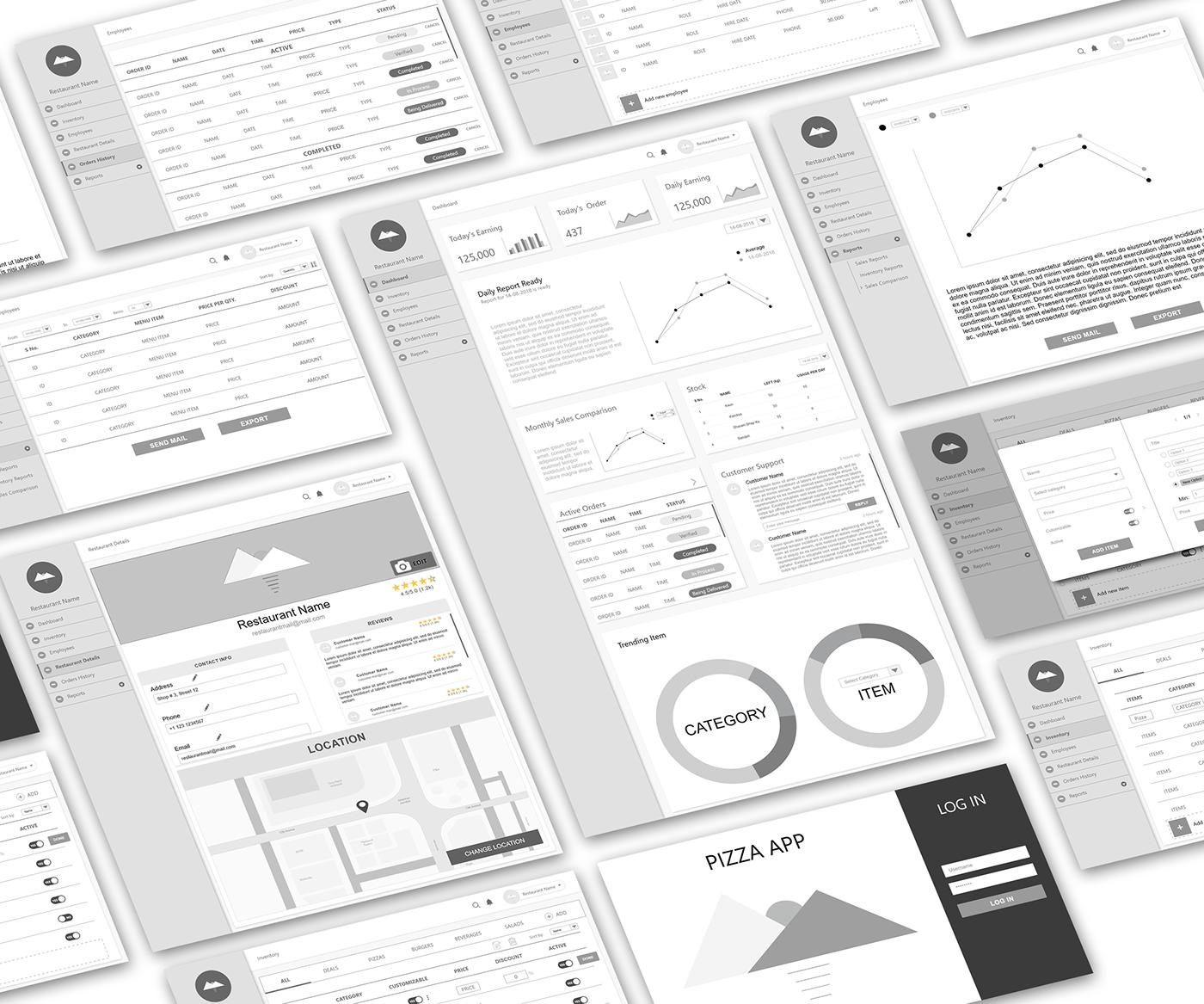 ui design UI/UX food delivery desktop app Modern UI dashboard design prototype Mockup wireframes wireframe design
