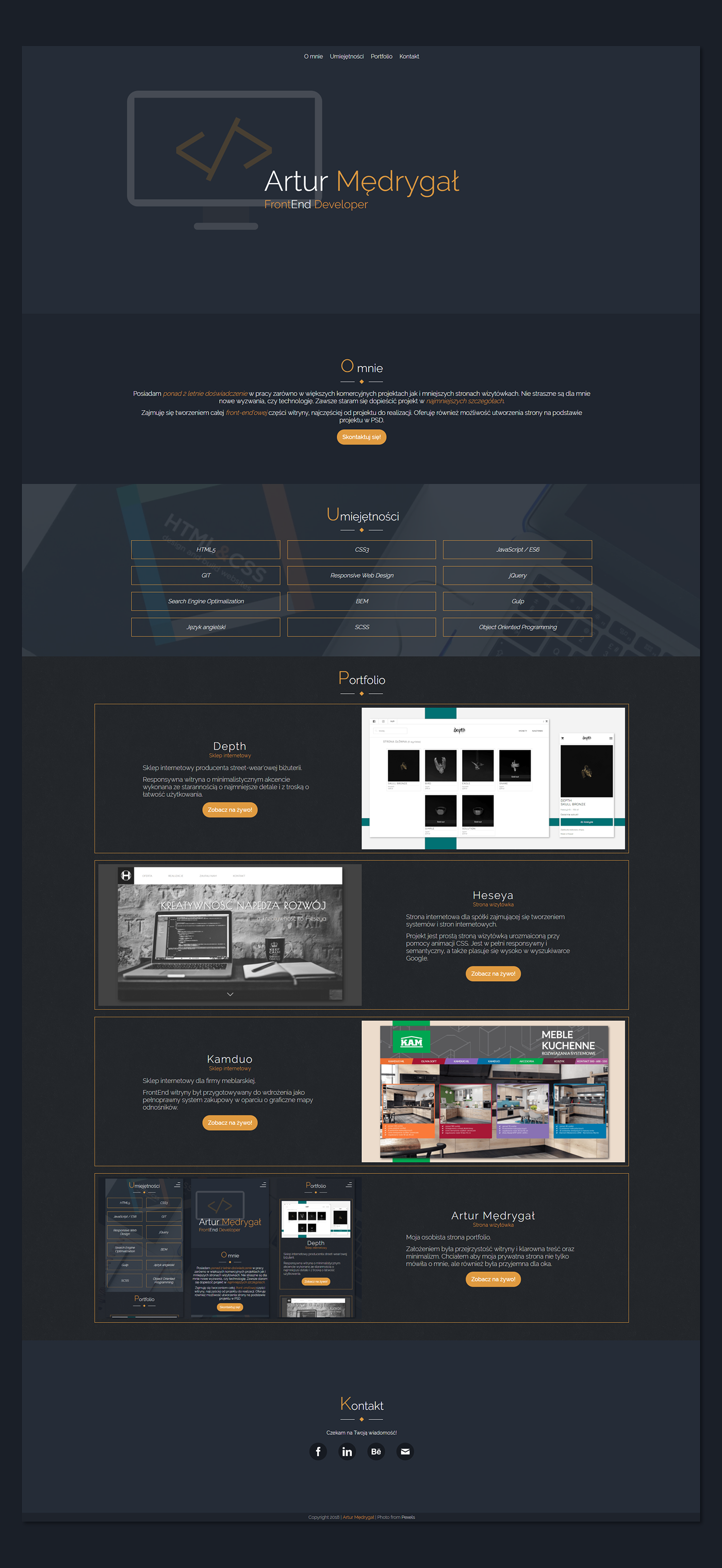 HTML css JavaScript rwd portfolio Webdesign landing page Website UI/UX onepage