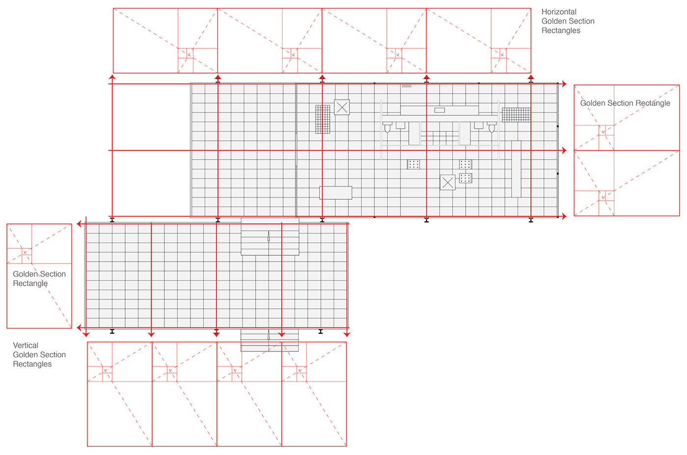 Van der rohe s farnsworth house geometric analysis on behance for Farnsworth house floor plan