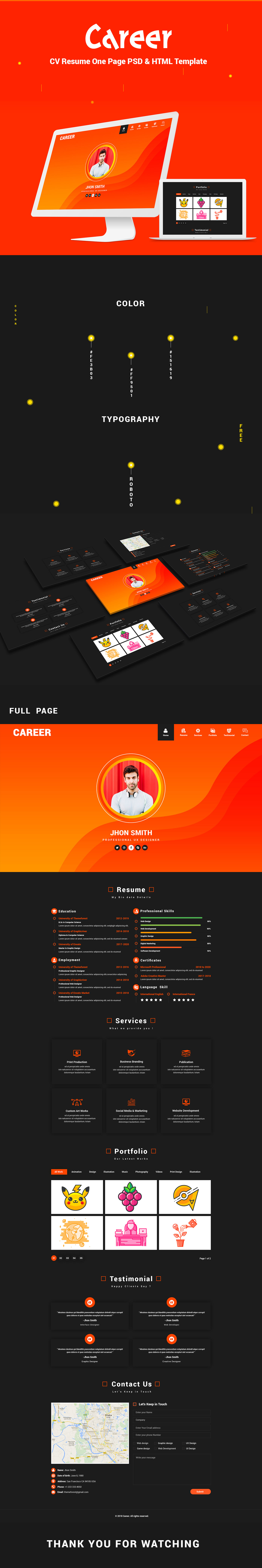 Career - CV Resume One Page HTML Template
