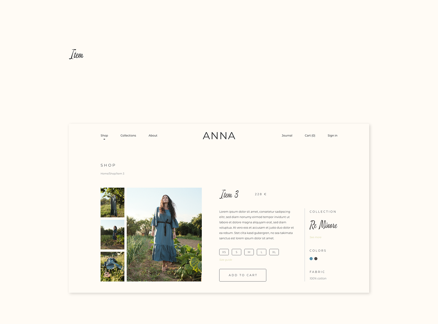 Single item page of ANNA by Anna Graziani website